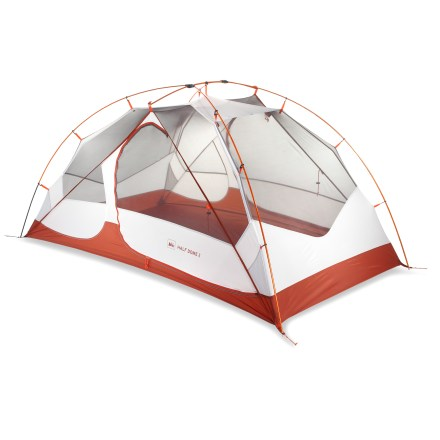Camp and Hike Lightweight, weather worthy and strong for 3-season use, the REI Half Dome 2 backpacking tent offers generous headroom, storage and easy access for 2. - $139.93