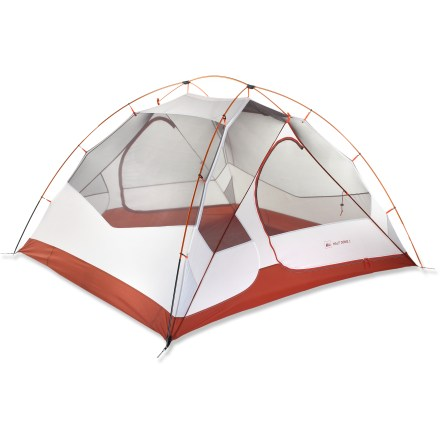 Camp and Hike Lightweight, weather worthy and strong for 3-season use, the REI Half Dome 4 backpacking tent offers generous headroom, storage and easy access for up to 4 people. - $209.93