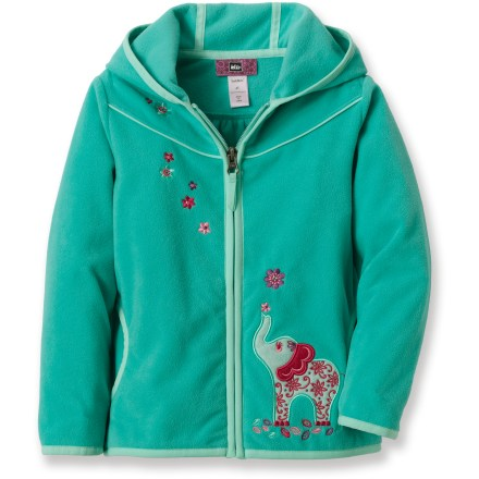 The REI Ellie fleece hoodie cloaks young girls in the cozy comfort of buttery soft microfleece for warmth at home, in the mountains or at the park. Polyester microfleece is warm and static free, and it resists pilling in the wash. Hand pockets warm chilly fingers; 3-panel hood adds welcome warmth in cold conditions. - $21.93
