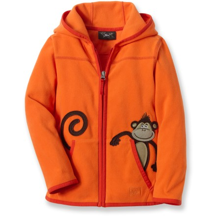 The REI Monkey in My Pocket hoodie offers toddlers a buttery soft microfleece layer for comfort at home, in the mountains or at the park. Polyester microfleece is warm and static free, and it resists pilling in the wash. Hand pockets warm chilly fingers; 3-panel hood adds welcome warmth in cold conditions. Monkey graphic adds a touch of fun style that your own little monkey will be sure to love. - $21.93