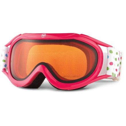 Snowboard The girls' Roxy Loola snow goggles provide clear optics and a touch of style for budding shredders. Cylindrical, dual-lens design features shatter-resistant, antifog performance to ensure clear optics. Polyurethane frame is backed with ergonomically shaped foam for comfort; vents in frame help circulate air. Helmet compatible; adjustable strap. Included abrasion-free bag can be used to clean the lens and helps protect goggles when storing or traveling. Roxy Loola snow goggles have an orange-tinted lens that offers 100% UV protection and performs best in cloudy or snowy conditions. - $20.83
