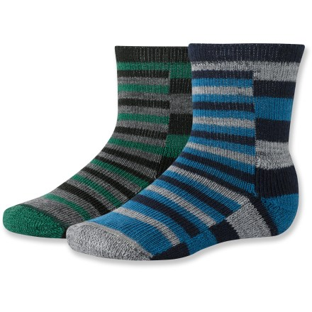 SmartWool Split Stripe socks for toddlers offer the performance of wool to keep their feet dry and comfortable. SmartWool socks are guaranteed not to itch and can be repeatedly washed and dried without shrinking. Stretch fibers from top to toe deliver all-day comfort; arch brace offers support. SmartWool Split Stripe socks feature soft comfort cuffs that don't bind yet offer stay-up power. *Offer not valid for sale-price items ending in $._3 or $._9. Please note: a package of 2 pairs counts as 1 pair of socks for the 10% volume discount. - $13.89