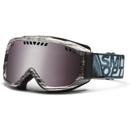 Snowboard The Smith Scope men's snow goggles are feature-rich, including mirrored lenses, multiple fog-fighting elements and an easily adjustable fit for great performance when you're out on the snow. Double lenses create an insulation barrier between cold outer air and warm air inside the goggles, preventing fog formation. Fog-X(TM) antifog treatment is bonded permanently to the inner lens for optimum fog-free vision. Structural ventilation system moves air freely through the lens chamber, and a semiporous foam filters moisture and snow particles. Self-adjusting split-V nose offers a comfortable fit; soft hypoallergenic foam creates a total seal around your face. Extra-wide, quick-adjust strap is backed with silicone grippers to provides a comfortable, secure fit. Articulating Outrigger Positioning System transfers pressure evenly across the brow and nose to create a complete seal around the face; helps optimize fit when using a helmet. Ignitor Mirror lens works to reduce eye fatigue by enhancing contrast and depth perception in all conditions; allows 35% visible light transmission. Green Sol-X Mirror lens has a dark sienna brown tint and a mirrored finish to cut down on glare in bright light; 15% visible light transmission. Microfiber bag helps protect lens during storage. The Smith Scope snow goggles offer a medium fit with medium volume. - $38.83