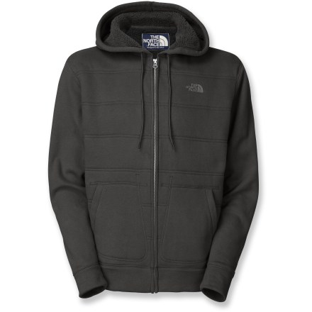 Possibly the most plush hoodie you'll ever wear, The North Face Wanaka full-zip hoodie jacket is lined in luxe sherpa fleece. Durable blend of cotton/polyester with coverstitch quilting. Drawcord hem; handwarmer pockets. Closeout. - $60.93