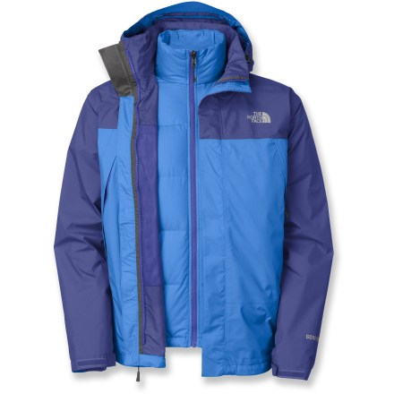 The North Face Mountain Light Triclimate jacket is your one answer to lots of weather conditions. On warmer days, zip out the down liner and wear just the shell. Waterproof, breathable, seam-sealed GORE-TEX(R) shell; plush 550-fill down removable liner jacket with Superstretch side panels for unrestricted movement. Alpine pockets on shell; zip handwarmer pockets on liner jacket. Drawcord hem and adjustable cuffs keep out cold air. The North Face Mountain Light Triclimate jacket has an adjustable, removable hood. Closeout. - $238.93