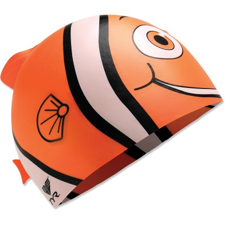 Fitness The Tyr Happy Fish silicone swim cap is more than just a fun fashion statement. It's engineered to help increase swimming speed and provide protection from damaging chlorine. - $1.83