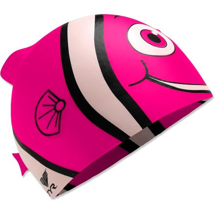 Fitness The girl's Tyr Happy Fish silicone swim cap is more than just a splashy fashion statement. It's engineered to help increase swimming speed and provide protection from damaging chlorine. - $6.93