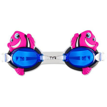 Fitness The TYR CharacTYRs Happy Fish goggles for girls add fun color and cute character to your kid's swimming lessons or splashy summertime fun. - $1.83