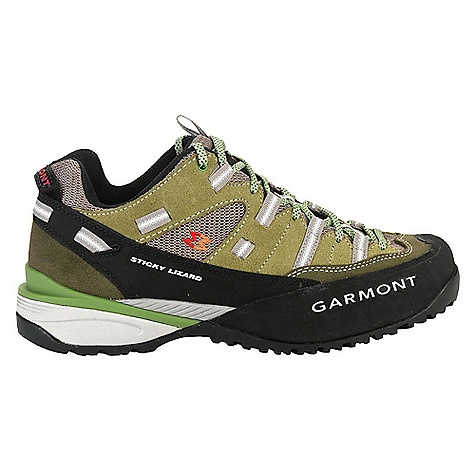 Camp and Hike Free Shipping. Garmont Men's Sticky Lizard Shoe The SPECS for Upper Weight: 1/2 per pair: 474 gram 1.6 mm water repellent suede Extra resistant mesh Inserts Wide rubber toe bumper offers abrasion resitance and toe protecion Eyelet and web lace closure Heel Lock System ADD Construction PU Footbed with antifungal, antibacterial, moisture and odor management properties The SPECS for Sole Bi-Density EVA Midsole provides lightweight cushioning and mid-foot stability Stabilizing PU Shank ensures heel area stability and mid foot control yet allows for walking flexibility in the forefoot area Vibram 973 Outsole: Sticky compound, great grip, dependable lug pattern Rubber Toe Bumper provides abrasion resistance for both the upper and midsole - $159.95