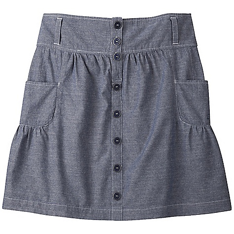 Features of the Mountain Khakis Women's Oxbow Skirt 4in. Waistband with 4 Belt Loops Elastic Smocking at Center Back Waistband Side Pockets Front Placket Design Detail with Metal R immed Buttons Chain Stitch Embroidery Garment Washed - $40.99