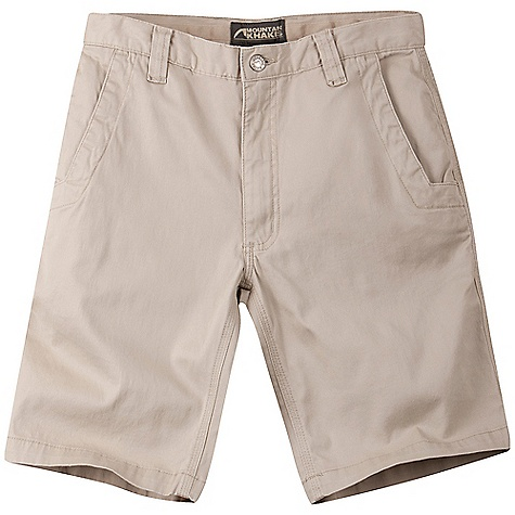 Features of the Mountain Khakis Men's Lake Lodge Twill Short 5 Pockets Welt Back Pockets with Coconut Button Closure Inseam Action Gusset YKK Zipper Triple-Stitched Seams Garment Washed - $45.99