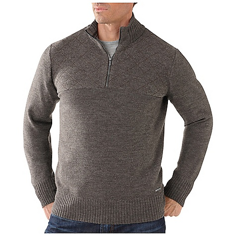 On Sale. Free Shipping. Smartwool Men's Conundrum Peak Half Zip DECENT FEATURES of the Smartwool Men's Conundrum Peak Half Zip Relaxed Fit Jersey knit with ribbed bottom opening and cuffs 9.5in. (24cm) zipper at front yoke Boiled wool front and back yoke with decorative stitching Engraved metal logo tab at left hip The SPECS Fabric: 100% Merino Wool Garment Weight: 11.1 oz / 315 g - $83.99
