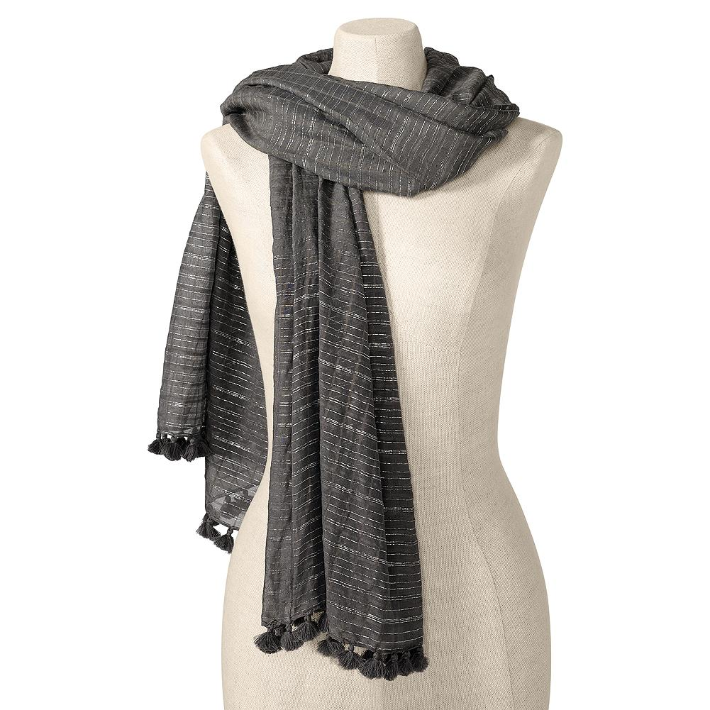 Eddie Bauer Pom Pom Scarf - Our cotton/silk-blend scarf is woven with Lurex threads for a hint of shimmer and finished with a fringe of tiny pom-poms. Imported. - $39.95