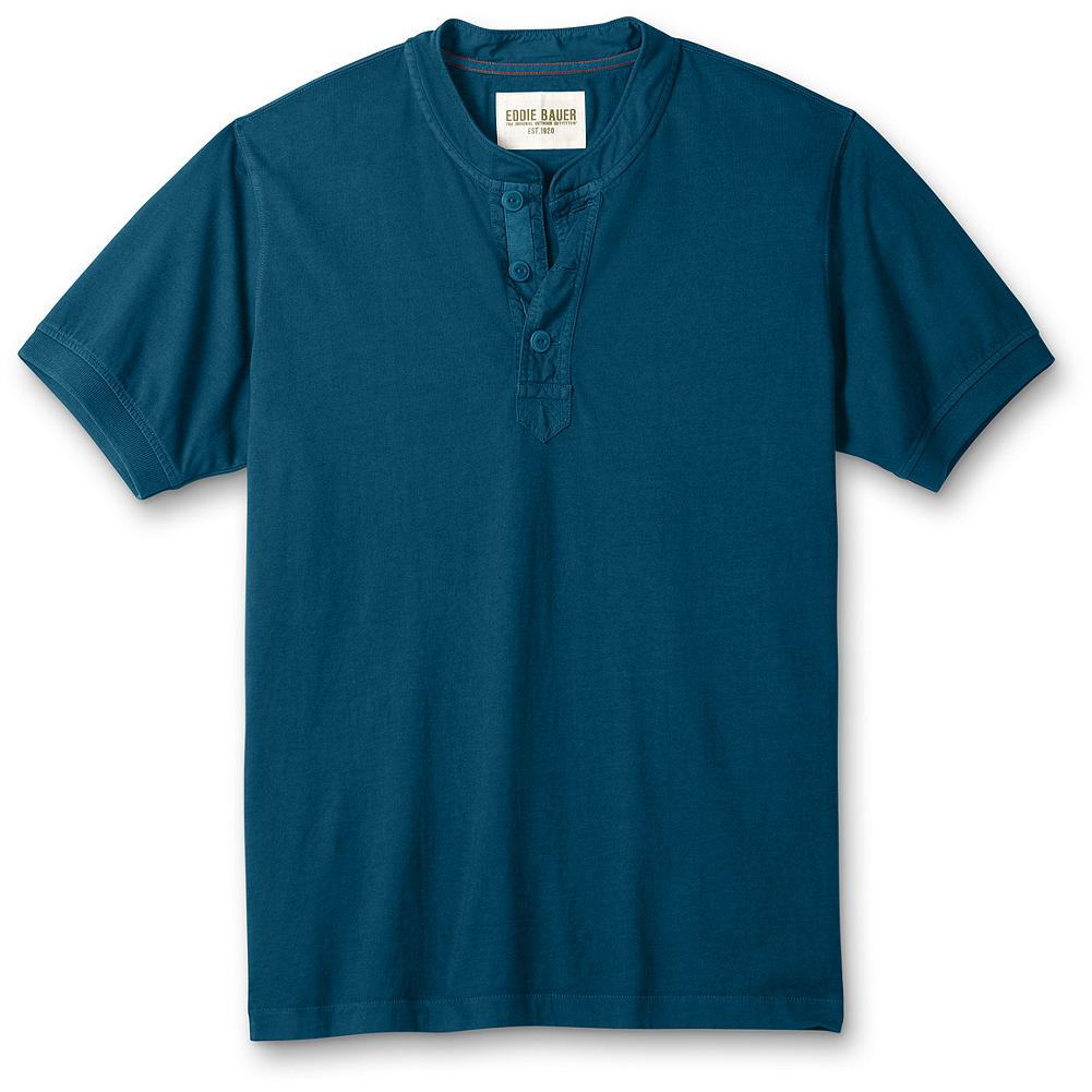 "Eddie Bauer Classic Fit Vintage Henley - Garment-dyed and superbly comfortable in deep, rich colors. Reinforced, woven-tape button placket, comfortable jersey collar and ribbed cuffs. Classic fit. Length: 29"". Imported. - $14.99"