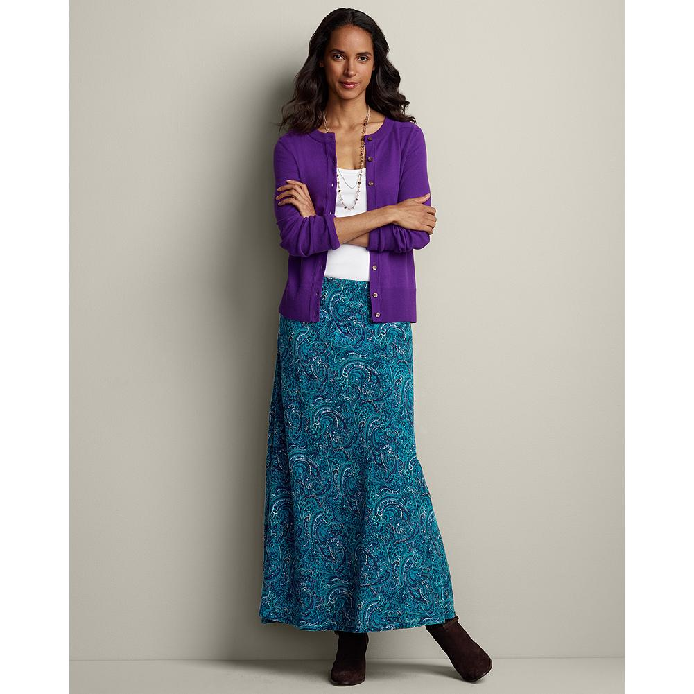 "Eddie Bauer Long Bias Skirt - Feel comfortably elegant in this softly flowing, richly colored skirt. Fully lined with an elastic waistband. Easy fit. Length: 37"". Imported. - $29.99"