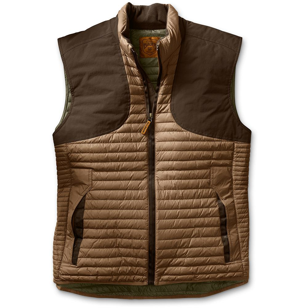 Hunting Eddie Bauer MicroTherm(TM) Featherweight Hunting Vest - The lightest, warmest hunting layer we have ever built. Derived from the patent pending down layer in our First Ascent(TM) line of mountaineering apparel. Unique narrow horizontal quilting keeps mid-weight warmth close to the body. Ripstop nylon shell with lightweight CORDURA nylon fabric overlays in all the right places for wear. Imported. - $99.99
