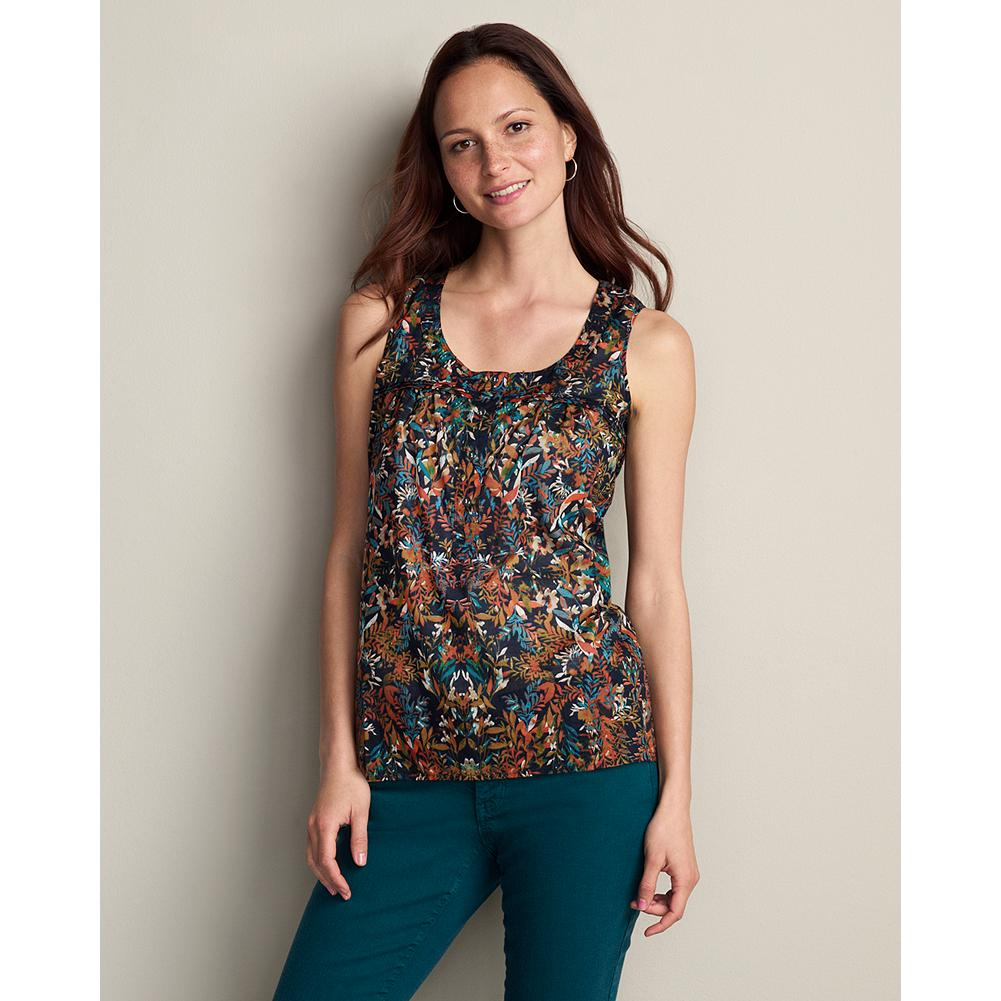 "Surf Eddie Bauer Printed Henley Tank Top - A tank top that's pretty as you please and ideal for the warmer months ahead. Made of soft cotton lawn with gentle gathers at the front yoke. Button placket. Classic fit. Length: 27"". Imported. - $19.99"