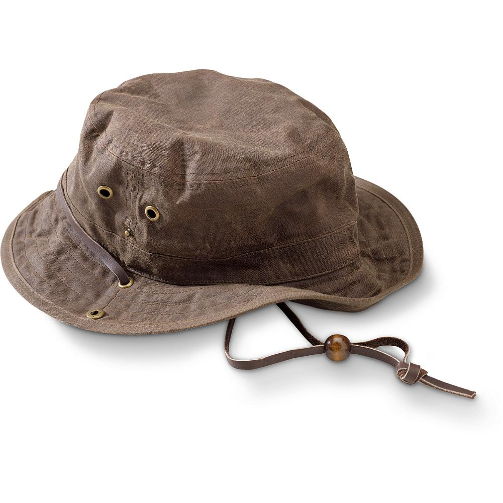Eddie Bauer Waxed Cotton Bucket Hat - Perfect for any outdoor adventure, this water-repellent canvas bucket hat packs easily into a corner of your bag and unfolds to provide shade from the sun or protection from the rain, thanks to a superior wax finish. - $24.99