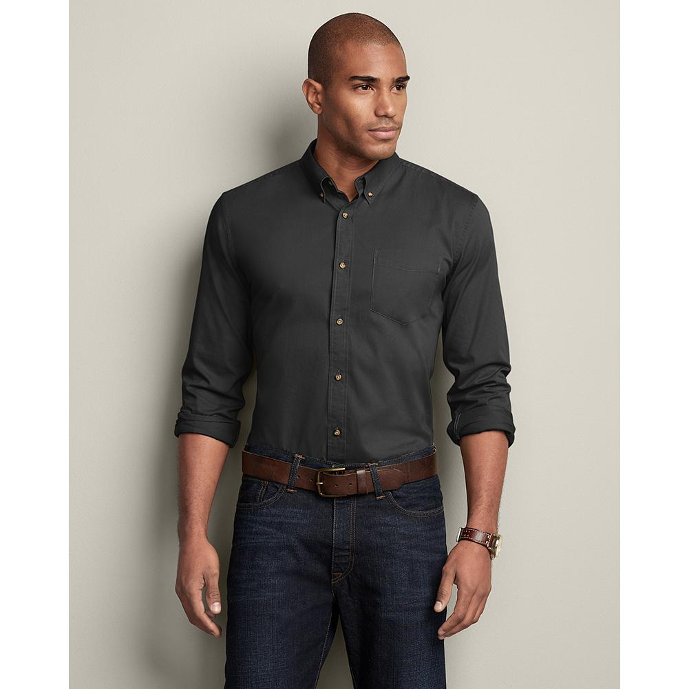 Eddie Bauer Slim Fit Signature Twill Shirt - Solid - Even after 20 washes, our supremely soft, 100% cotton Signature Twill Shirts topped our competitors in shrinkage resistance and color retention. Proof that you can rely on their ruggedness, comfort, and premium quality for a lifetime. - $19.99