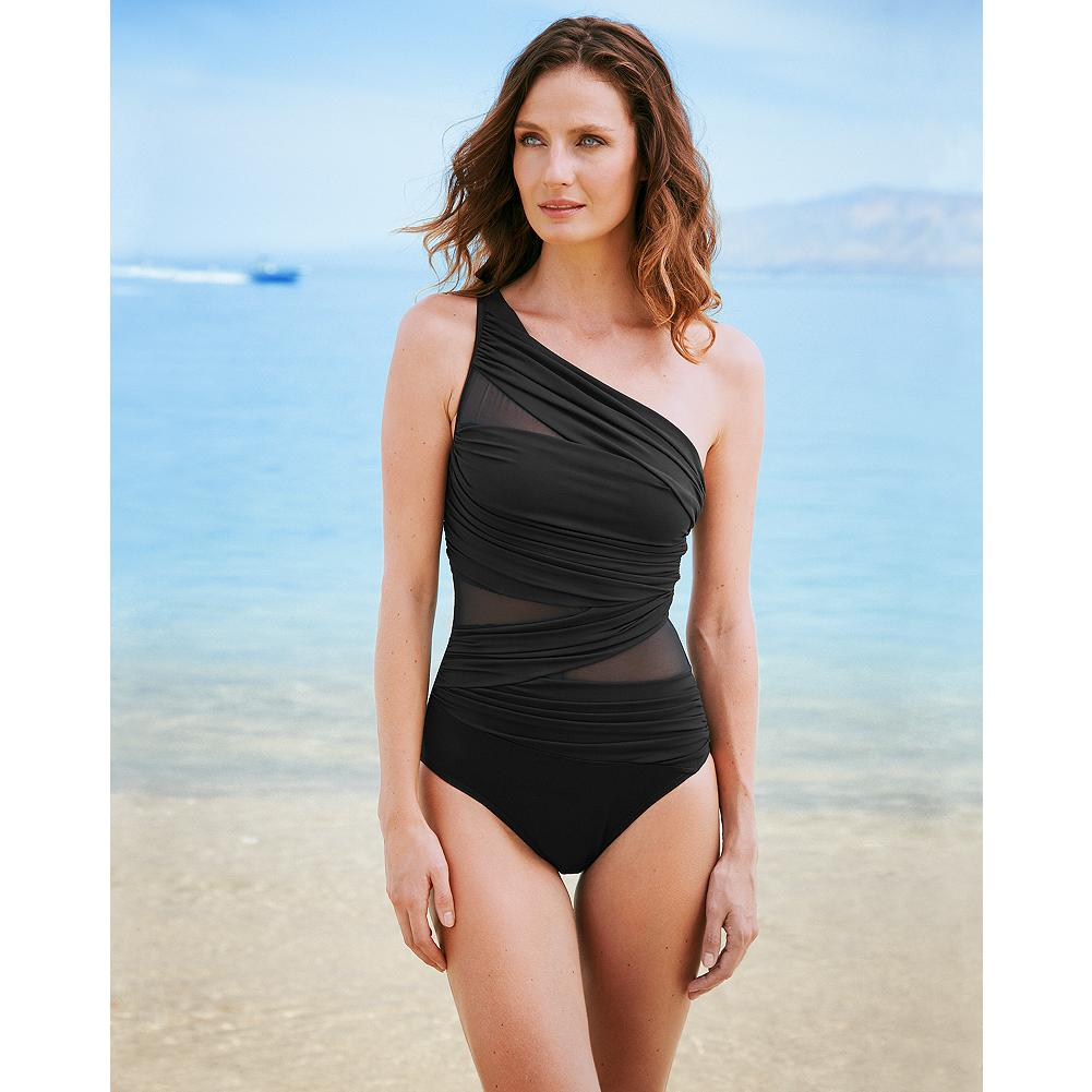Fitness Miraclesuit Jena One-Piece Swimsuit - Solid - Look 10 pounds lighter in 10 seconds in this Miraclesuit one-piece swimsuit. Revolutionary Miratex fabric is made with three times the amount of spandex you'll find in other suits, so it provides incredible shaping, firming and holding power without any uncomfortable panels. Elegant one-shoulder asymmetry minimizes broad shoulders and bust; wrap styling with cut-outs delivers an all-over slimming effect. - $154.00
