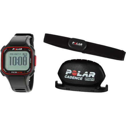 Fitness Ride like the wind and reap the most reward, with the Polar RC3 GPS Bike Heart Rate Monitor, which will help you plan your route and even direct you back to where you started if your sense of direction isn't as strong as your pedal-pumping quads. The watch unit receives and processes data from both the H3 strap so you can keep track of your heart rate and ideal target zones, and the CS Cadence sensor  that reports on speed, distance, and cadence. Then you can hook the RC3 to your computer and watch in full delight your skyrocketing progress. ZoneOptimizer finds the exact training effect you seek by adjusting five heart rate training zones to your current physiological condition Training Benefit gives instant feedback following a workout, for immediate satisfaction and motivation SportZones allows you to select and monitor your workout intensity Back to Start shows you on the display how to return  Integrated GPS with route mapping helps you plan your ride so you always get the workout you want Includes CS Cadence WIND sensor that attaches to your bike to measure speed, distance, and cadence New H3 soft textile strap has the sensors embedded in the fabric for a better fit and more comfortable feel Watch features include time of day with alarm and snooze, dual time zone, date and weekday indicator, stopwatch, reminders, backlight, and low-battery indicator Rechargeable battery goes for 12 hours of continuous use with GPS on, or 11 days when training one hour per day with GPS Water-resistant against splashes, rain, and sweat; not suitable for swimming USB cable lets you transfer all your data and progress to your PC or Mac Also compatible with Polar WIND running sensors (sold separately) - $349.95