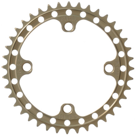 MTB Renthal equipment has been a staple in the motocross aftermarket for years, and they've finally made the leap to mountain bikes. This is their SR4 Single Chainring, made for the singlespeeder or 1x rider who maybe grew up racing motorcycles -- the Renthal moto aesthetic is unmistakable. Perhaps this explains why we feel like it would help us go faster. The Renthal SR4 Chainring is CNC machined from 7075-T6 plate aluminum, then hard anodized to make it supremely durable. It fits any four-arm crankset having a 104mm bolt circle and is available with four tooth counts -- 32t, 34t, 36t, and 38t. It is perfectly compatible with 8-, 9-, and 10-speed chains. - $50.00