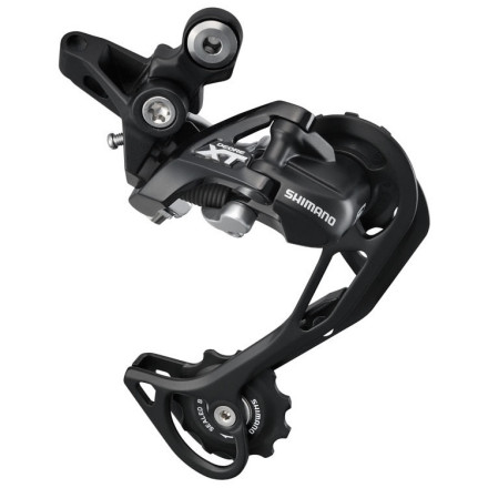 MTB The Shimano XT Shadow Rear Derailleur RD-M780 passes along all the great performance of its predecessor, along with a few grams of weight savings. It's a crucial part of the Dyna-Sys 10-speed drivetrain system. Dyna-sys gives you exact shifting and an incredible range of gears for your mountain bike.The Shadow derailleur design holds a number of improvements over their conventional derailleurs. Firstly, the profile is reduced, meaning the Shadow XT Derailleur is less likely to get knocked around by trees and rocks. Secondly, our favorite improvement is the more direct cable path. Your shift housing can enter the stop on the derailleur without the traditional loop of excess housing that often was the victim of contamination and a source of poor performance. Shimano uses tried-and-true aluminum components in the XT derailleurs. All of the knuckles, linkage plates, and cage sides are made from it. So while it may lack the wow factor of the carbon fiber laden XTR Shadow, it's more affordable, and if you've been running XT derailleurs as long as we have, you'll know that you'll get a plentitude of mileage on it with great function. The Shimano XT Shadow Rear Derailleur RD-M780 is available with two cage lengths -- Long (SGS) and Short (GS). The length of the cage determines the overall chainwrap capacity or how big of a tooth difference it can accommodate between the biggest gear and the smallest gear. Total difference can be found with this equation: big ring - small ring + big cog - small cog. For example the long cage (SGS) option will work with a 24/32/42 chainring configuration (18t difference) plus an 11/36 cassette out back (25t difference). This meets the maximum chainwrap capacity of the long cage derailleur (43t). The Short length cage (GS) has a chainwrap capacity of 35t and could be used for a single or double ring/bashguard set-up as the 11/36 (25t difference) plus the 24/32 chainring (8t difference) does not exceed its range. - $88.00