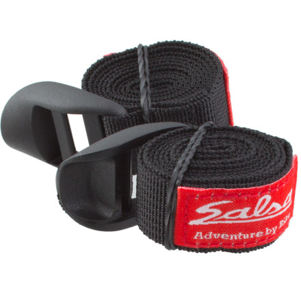 A long tour swallows gear randomly, but when you pack up extra Salsa Straps for the Anything Cage (sold separately) you can be sure you always have them to secure your sleeping pad or shelter.20mm-wide nylon webbing remains strong during tours lasting a month or longer Choose 750mm (29.5in) or 1250mm (49in) length with ladder lock style buckles or the 1250mm length with side release buckle (depending on inventory) to fit your strap needs Plastic buckles cinch down with one pull Compatible with the Anything Cage (sold separately) but can be used for random fixes and attachment throughout your journey Includes two straps - $7.17