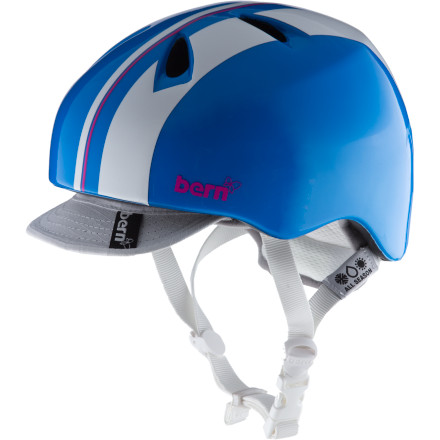 Snowboard You scare your folks enough with your daredevil shenanigans, so protect your dome with the Bern Girls Nina Helmet. The lightweight Ninas sleek low-profile fit makes you look like a serious rider or skater, even if youre not. Plus you wont be called an egg-head.Zip-mold technology uses a liquid injection method that fuses high-impact foam and a tough polycarbonate shell to protect your noggin Sink Fit features a low-profile configuration so the helmet fits around your head, not on top Two-custom fit goggle clip locations let you decide Air channel design provides ventilation and expels heat for maximum comfort Molded eyewear channel ensures a comfortable and unobstructed fit with goggles or sunglasses - $44.95