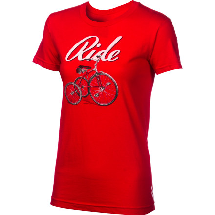 Fitness The Twin Six Ride T-shirt pays homage to those summer days when all that mattered was rolling on your wheels through your neighborhood, ice cream cone in hand, and a grin on your face. Slip on the Ride T-shirt and profess your lifelong love of cycling to the world. The red, cotton shirt is printed with a vintage tricycle in black and white, and the word 'Ride' in script lettering behind it.Twin Six takes a lot of pride in the t-shirts they make beyond the design process. Every shirt they print on is sewn in Los Angeles, CA from a jersey knit, cotton/poly blend and printed in St.Paul, Minnesota using a process that leaves a soft, sublimated looking graphic on the shirt. The Twin Six Ride T-shirt comes in Red only and is available in four sizes from Small through X-Large. - $11.98