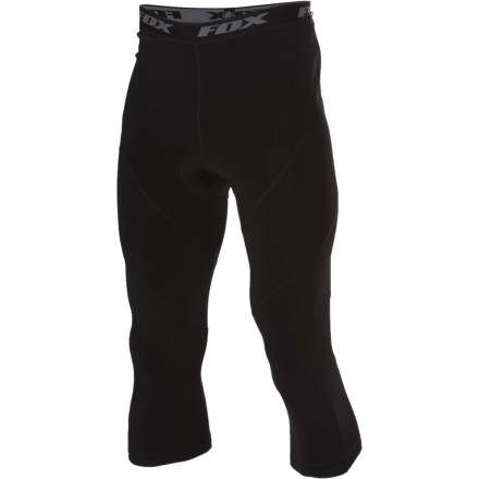 Fitness Extend the season with the Fox Evolution 3/4 Liner Pant. The 3/4 Liner provides added coverage to keep your knees from freezing up during early spring and late fall rides, so you'll be out riding while your buddies are stuck at home waiting for snow (or waiting for thaw).Multi-layer Evo chamois cushions to reduce fatigue and manages moisture Flatlock seams reduce chafe and irritation Multi-panel design for a natural fit and feel Silicone leg grippers keep the hems from riding up - $59.95