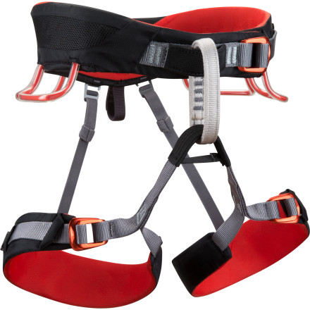 Climbing With the Black Diamond Momentum 3S Harness, you'll have the ventilation for long sport pitches in the summer, the comfort for multi-pitch adventures in the fall, and the versatility to tackle ice routes in the winter. Pre-threaded Speed Adjust buckles on the belt and leg loops allow you to quickly and securely adjust the harness without having to worry about doubling back, and the Dual Core waist-belt eliminates pressure points for all-day comfort. - $59.95