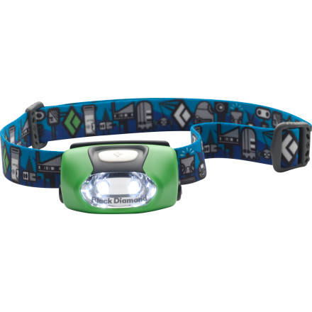 Climbing Designed for young campers, the Black Diamond Wiz Headlamp gives kids the same hands-free illumination that the adults enjoy. With 50 hours of burn time on the low setting, this powerful little headlamp also turns off automatically after four hours to preserve battery power in case the little one leaves it on accidentally after bedtime. - $18.95