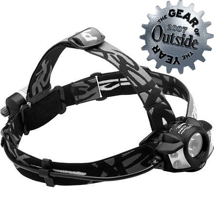 Climbing If you need a headlamp that can handle your hardcore adventures, look no further than the Princeton Tec Apex Pro Headlamp. The Apex represents the pinnacle of Princeton Tech's waterproof LED headlamps and is ideal for alpine climbers, midnight mountain bikers, and cold-weather campers. It can put out up to 200 lumens of light, and boasts four light levels, a safety flash mode, and an impact-resistant design. The dual switch system allows you to independently control all of the Apex Pro's lighting modesfrom the Maxbright LED to the wide-angle, close-range four Ultrabright LEDs. Princeton Tec engineered the Apex Pro with proprietary Heatsink technology, so that whatever the lighting mode, this headlamp provides a consistent bright light that will burn for a long time. - $85.46
