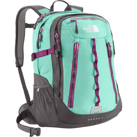 Camp and Hike Just because you like to have your computer with you doesn't mean you can only be found at a desk. Take your tech toys on the go with the North Face Surge II Women's Laptop Backpack. It has a a padded laptop sleeve to protect your seventeen-inch computer, as a well as a neoprene sleeve to store your tablet. The ergonomic, padded shoulder straps were designed specifically for a woman's body so that the load is more evenly distributed, making it more comfortable and better for your back. So whether you're riding your bike to the office or checking your emails from the top of a trail, you can bring everything you need comfortably and securely with the Surge II. - $124.95