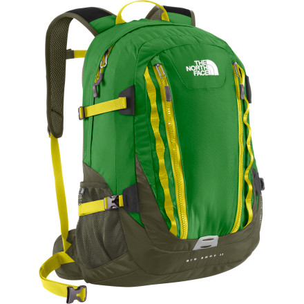 Camp and Hike From commuting to work on your bike to hiking your favorite local trail, the North Face Big Shot II Laptop Backpack can do it all. It has a spacious main compartment with a seventeen-inch laptop sleeve, a hydration port, and plenty of room for anything else you need to bring along. It features Flexvent padded shoulder straps that help evenly distribute the weight of the pack to increase comfort and reduce stress on your back, and the air-mesh back panel allows air to flow to your back to keep it from getting swampy back there while you're hiking, biking, or simply strolling around town. - $108.95
