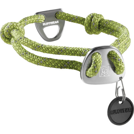Climbing Help your crag dog look the part and equip him with a low-profile Ruffwear Knot-A-Collar Dog Collar. Made from durable 7mm cord with an aluminum belay-plate and an inspired size adjustment system, you can quickly adjust the collar for a perfect fit that comfortably rests in Fido's fur. An aluminum leash attachment point and ID V-ring complete the pinnacle of crag-dog fashion statements. - $22.95