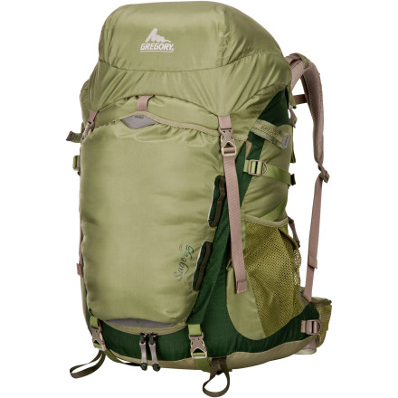 Camp and Hike When you load your overnight trekking gear into the Gregory Women's Sage 55 Backpack, you've made a wise choice for comfort, support, and easy access. The women-specific 3D suspension is molded to the female anatomy for greater comfort, ventilation, and less fatigue when you're shouldering loads up to 35 pounds. A large U-shaped zipper on the front panel provides easy access to gear, and the integrated rain cover keeps your kit dry when an afternoon alpine shower blows through. - $139.27