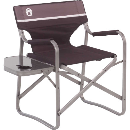 Camp and Hike Once the bonfire warms the campsite, you unfold the Coleman Aluminum Deck Chair with its side table and begin the relaxation process. - $54.95