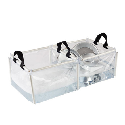 Camp and Hike After you lose paper, rock, scissors to decide who washes the dishes, bust out the Coleman Folding Double Wash Basin and make light work of a dirty job. This collapsible bin features two sides (one for washing, one for rinsing) and three grab handles for easy carrying and dumping when youre done. - $13.46