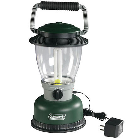 Camp and Hike Take along the Coleman Rugged Rechargeable Family-Size Lantern on your next weekend camping trip. This rechargeable lantern's nine-watt fluorescent U-shaped bulb provides bright white light for camp setup, cooking, and playing cards. Use the 120V AC or 12V DC port adapters, which store in this lantern's base, to recharge. While the lantern recharges, an amber-colored nightlight still functions, so kids who stumble out of their bags for a sip of water will be able to see. Plug this Coleman Lantern in at homeif the power goes out, its emergency-on circuit lights automatically, so you won't be left in the dark. - $39.95