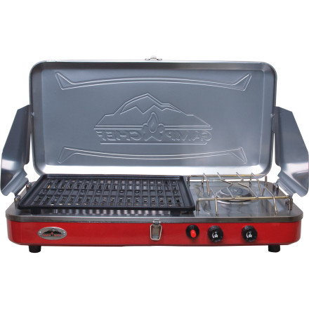 Camp and Hike The Camp Chef Rainier 2 Burner Grill/Stove Combo lets you grill up some tasty, juicy morsels of flavor on one side of your stove while you stew up a pot of steaming, hot deliciousness on the other. - $88.95