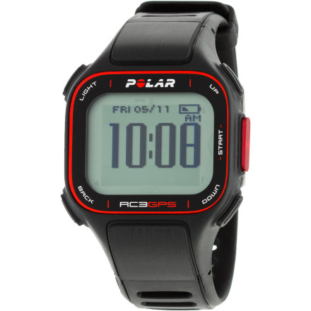 Camp and Hike Variety is the spice of life, and the Polar RC3 GPS Watch is your versatile training tool: know what heart-rate zone you're in to optimize your workouts, make a plan of attack using target zones and training goals, record your routes, and even find your way home with this indispensable tool. With a GPS, you always know where you are on a map, and with this training monitor, you also know where you've started and how far you've come. ZoneOptimizer finds the exact training effect you seek by adjusting five heart rate training zones to your current physiological condition Training Benefit gives instant feedback following a workout, for immediate satisfaction and motivation SportZones allows you to select and monitor your workout intensity Back to Start shows you on the display how to return to where you began your workout H3 heart rate sensor gives you an accurate measure  Integrated GPS with route mapping helps you plan your ride so you always get the workout you want New H3 soft textile strap has the sensors embedded in the fabric for a better fit and more comfortable feel Watch features include time of day with alarm and snooze, dual time zone, date and weekday indicator, stopwatch, reminders, backlight, and low-battery indicator Rechargeable battery goes for 12 hours of continuous use with GPS on, or 11 days when training one hour per day with GPS Water-resistant against splashes, rain, and sweat; not suitable for swimming USB cable lets you transfer all your data and progress to your PC or Mac Compatible with Polar WIND bike and running sensors (sold separately) - $279.95