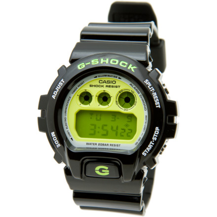 Entertainment Life is full of unexpected dousings and shocksa sideline shower of sports drink, a spill off a mountain bike into a mud puddle, or a direct hit on the paintball course; the last thing youre thinking about is whether your watch will survive the experience. If youre wearing the G-Shock DW6900CS Classic Watch, its not even an issue; G-Shocks are designed to take whatever comes at you or you get into without missing a moment. The watchs quartz movement (reliable to within 15 seconds a month) is protected by a durable mineral glass face, and can withstand submersion in depths of up to 200 meters. Functions include a stopwatch, countdown timer, and a multi-functional alarm. - $88.95