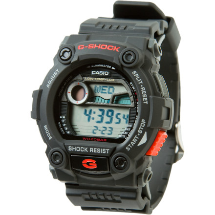 Entertainment Dive in, repel, climb, or just kick it with the G-Shock G-Rescue Watch. The G-Rescue has techy function and style. This watch has a water-resistant rating of 200m, it's temperature-resistant to the ballz-cold temps of -4 F (-20 C), and it has four alarms to keep you punctual so long as you don't keep pressing the snooze button. Surfing more your thing' Fear not, friends, the G-Rescue has a detailed tide graph complete with time and date. - $98.95