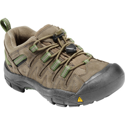 Camp and Hike You'd never dream of buying your kids 'nice' leather shoes. First of all, they have a tendency to wind up in their socks at formal functions. And secondly, they spends 80% of their time romping around in the dirt. The KEEN Gypsum Hiking Shoes' sturdy, water-resistant nubuck uppers were designed for playing rough. - $59.95