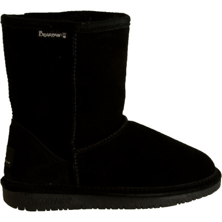 Your girl's feet are happy campers every time you slip them into the Bearpaw Girls' Emma Boot. This suede boot wraps her in sheepskin and wool for warmth; the sheepskin footbed also wicks moisture from her foot for all-day comfort. The boot's redesigned rubber outsole offers improved grip and cushions every step she takes on the playground, at school, or around town. - $31.96