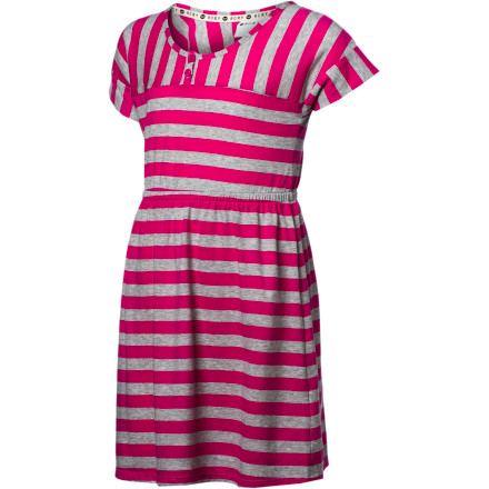 Surf Mixed stripes make the sporty Roxy Girls' Sun Shower Dress a show-stopper. And a smocked waist and front placket add some fun detail to a party dress that's equally at home at the beach, park, or classroom. - $24.70