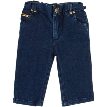 Entertainment Dress him in the Egg Infant Boys' Denim Pants and your football team's infant-sized jersey, and prop him up on your lap as you root for your team. - $21.57