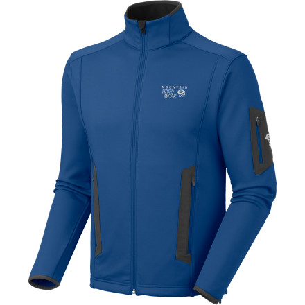 Fitness Feel the wind through your hair, not up your back, in the Mountain Hardwear Men's Arlando Jacket. Its smooth, strong exterior fends off the wind, its fuzzy-soft interior keeps you cozy, and its stretch polyester-elastane blend helps you reach that hold or run that trail with arm-pumping ferocity. - $87.47